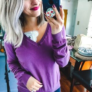 Forever 21 Purple V-Neck Sweater Small